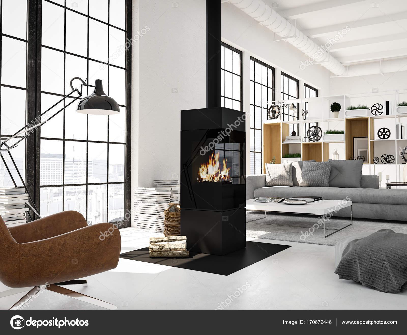 Rendering 3d soggiorno con camino in appartamento moderno loft foto stock 2mmedia 170672446 - Soggiorno moderno con camino ...