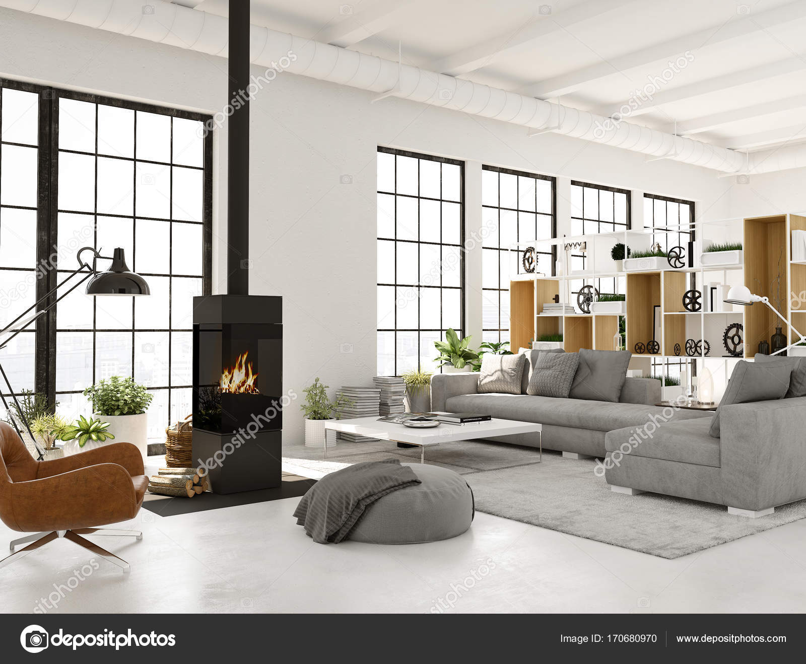 3d rendering. living room with fireplace in modern loft apartment ...