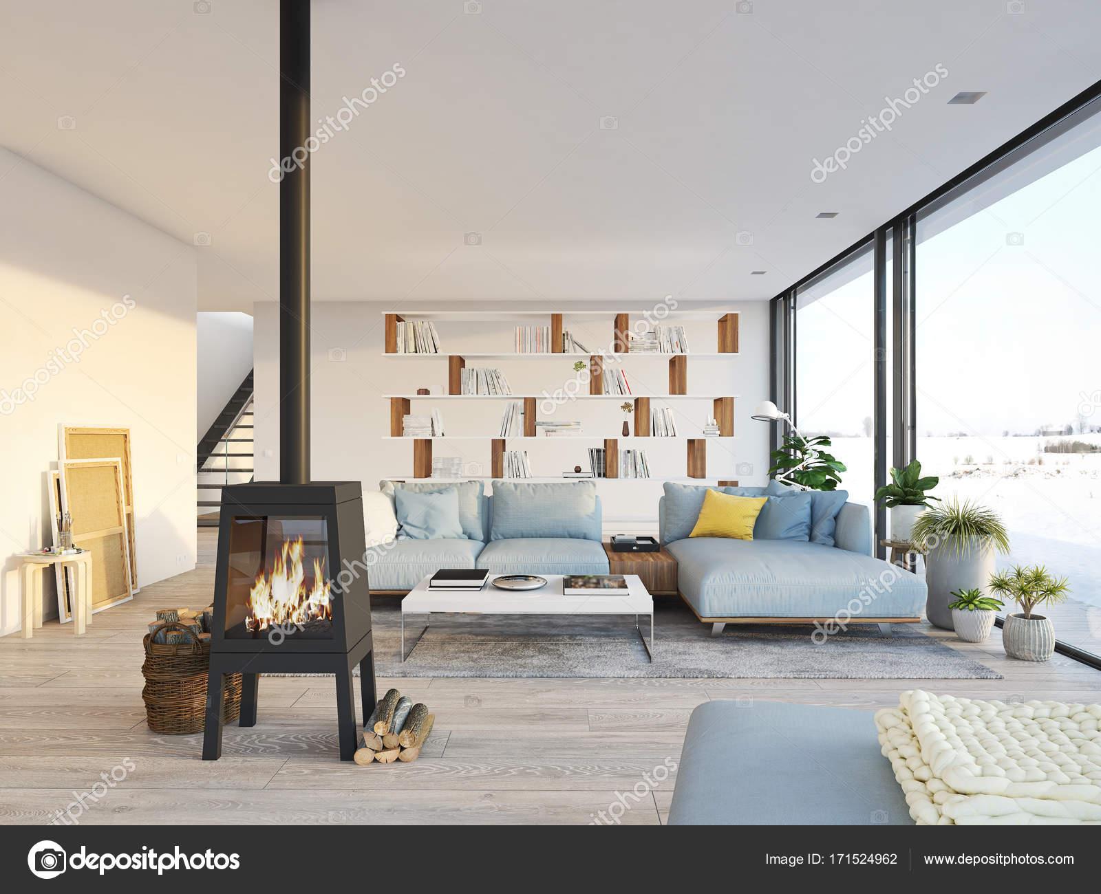 3D-rendering. woonkamer met gietijzeren haard in moderne loft ...
