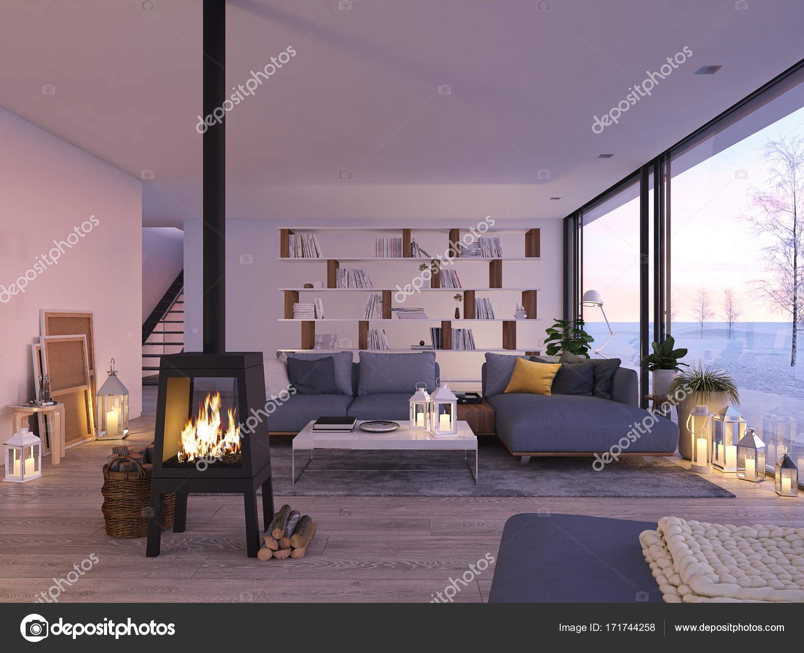 Rendu 3D. salon avec foyer en fonte en Loft moderne ...