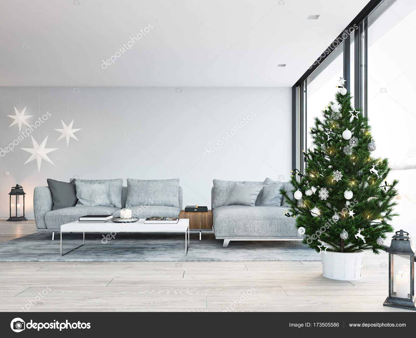 3d rendering haus mit christbaum in modernen wohnung for Dekoration in wohnung