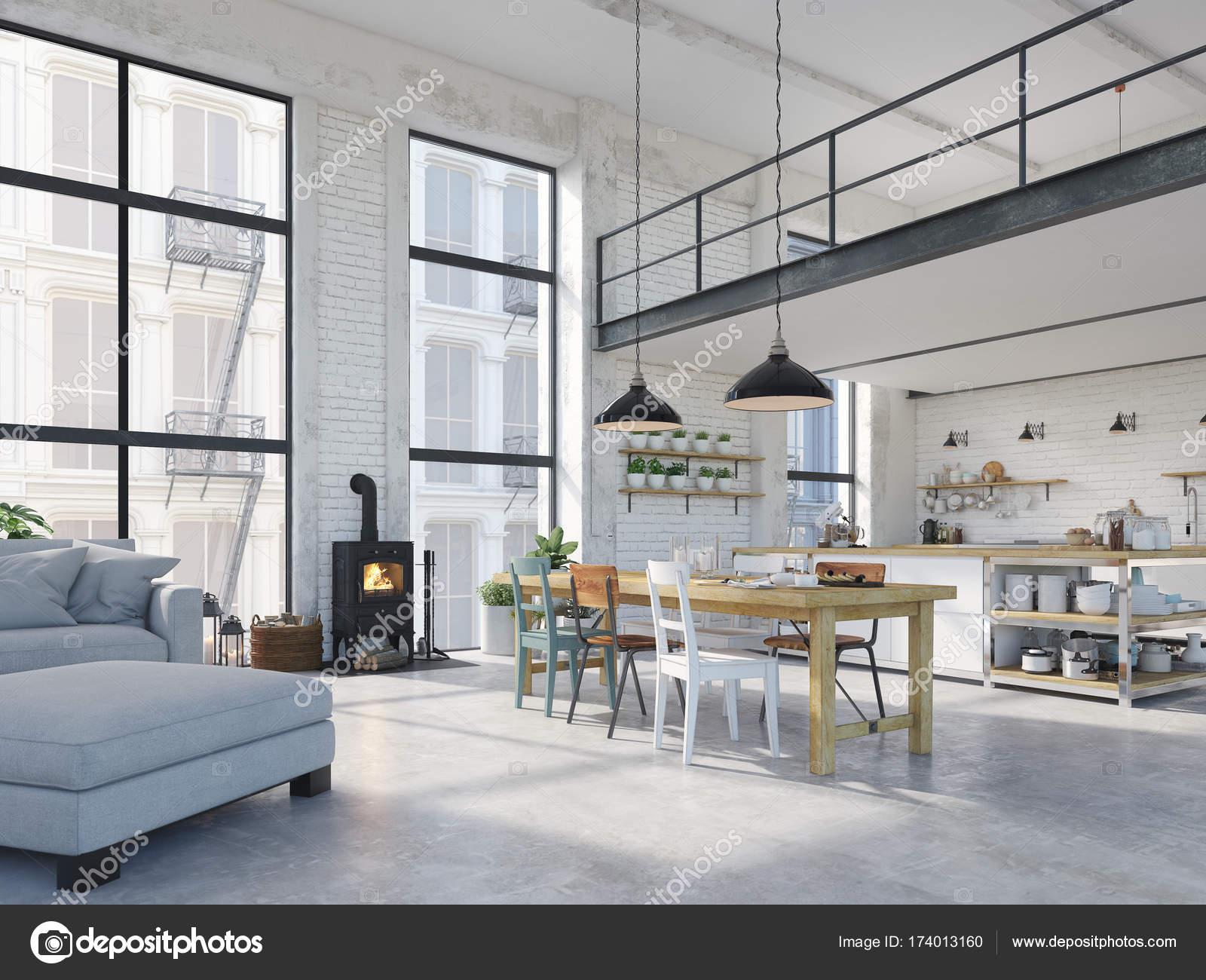 moderne loft appartement 3d rendering stockfoto 2mmedia 174013160. Black Bedroom Furniture Sets. Home Design Ideas