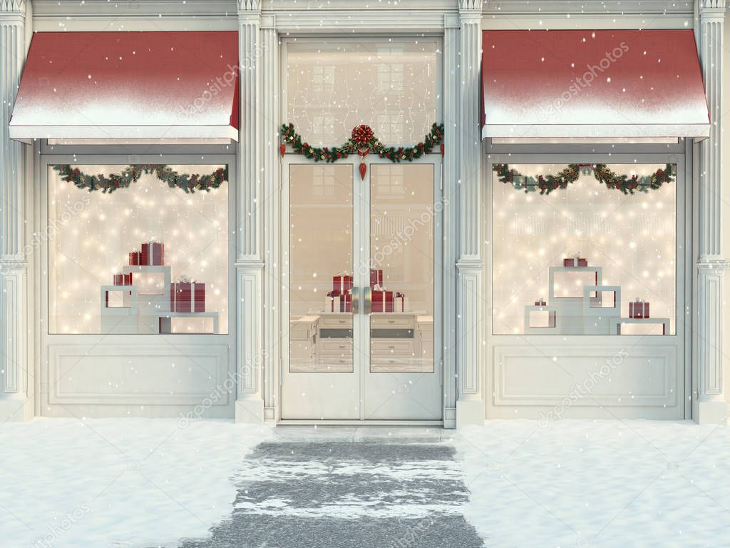 christmas decorated store with gifts and lanterns. 3d rendering