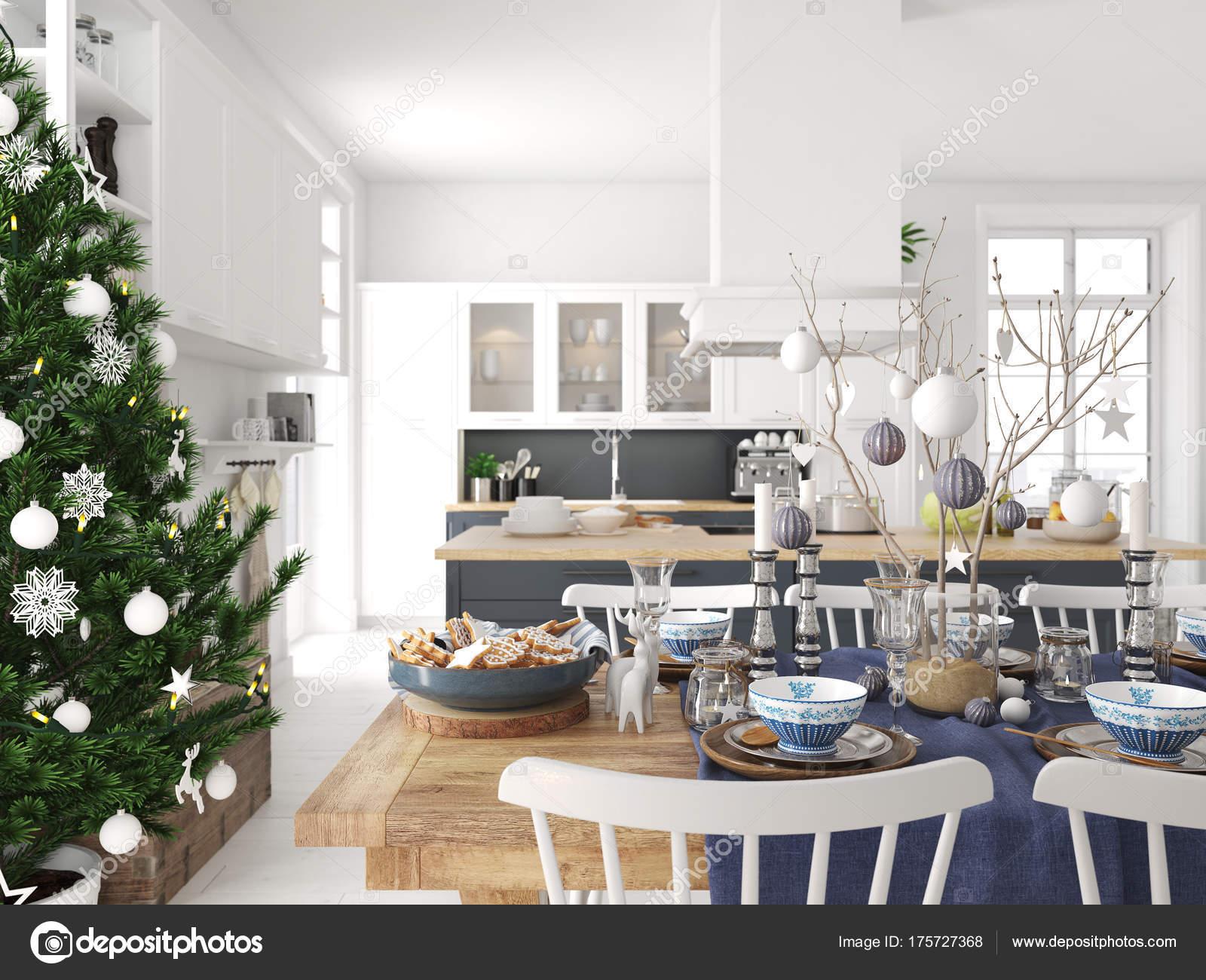 Scandinavische keuken met decoratie van kerstmis d rendering