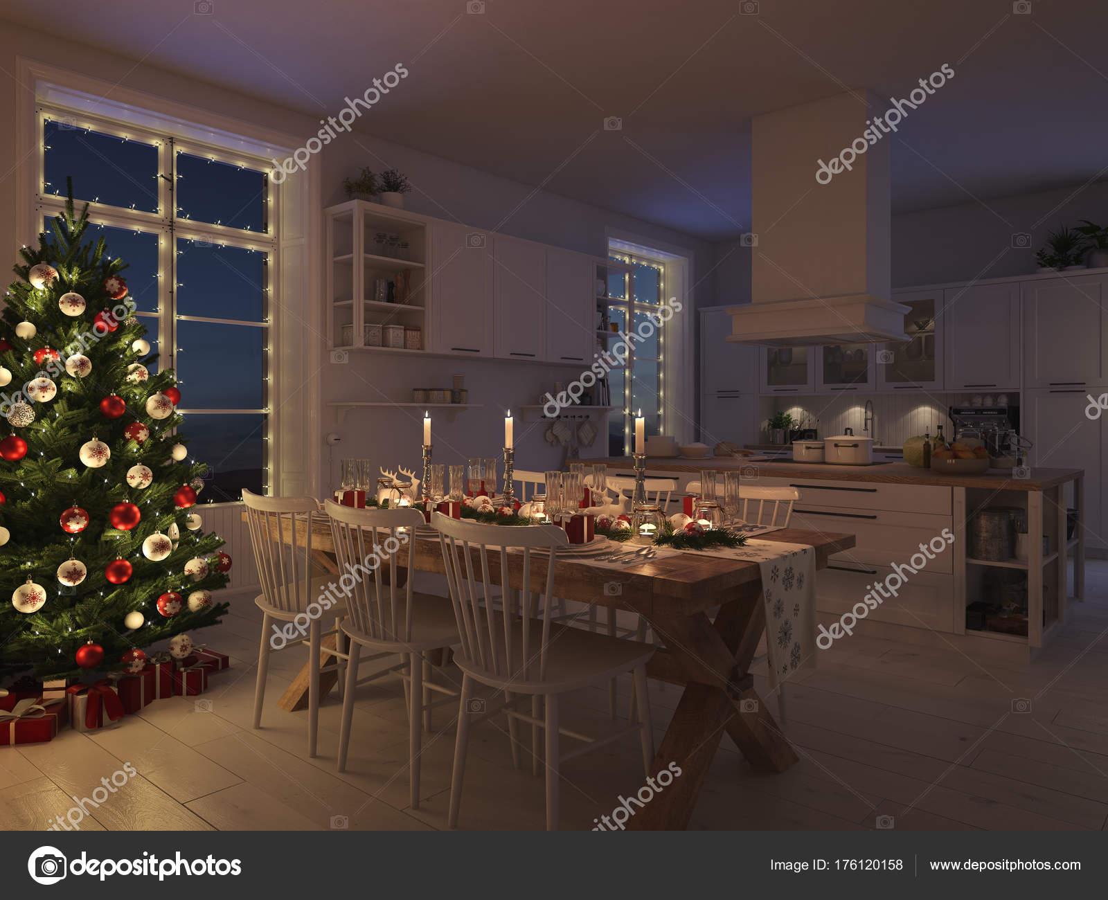 Scandinavische keuken met decoratie van kerstmis door de nacht d