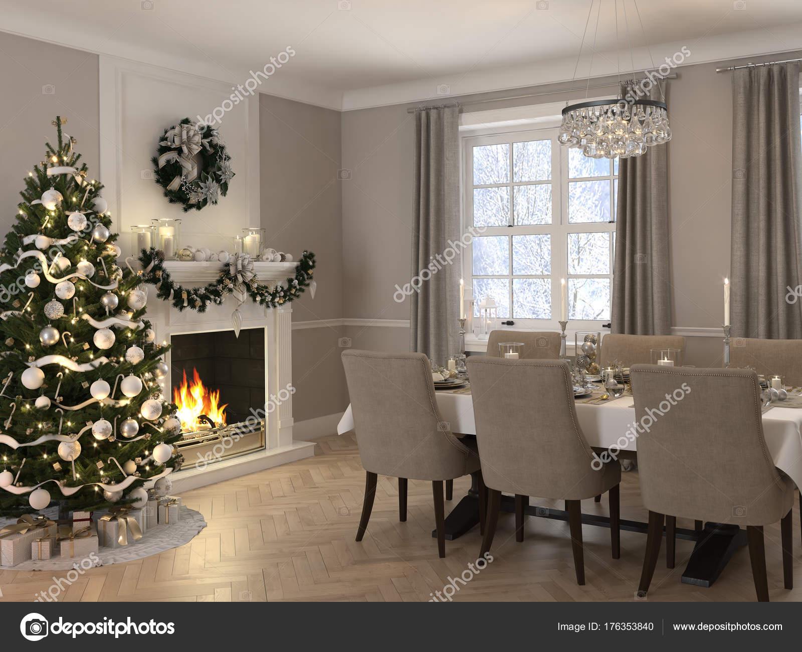 Luxus Esszimmer mit Weihnachtsdekoration bei Tag. 3D-Rendering ...