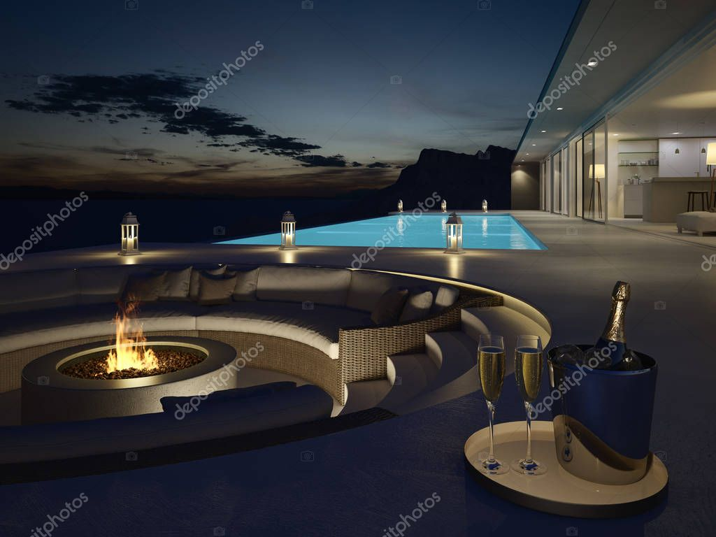 3d rendering of pool villa with champagne. new years eve