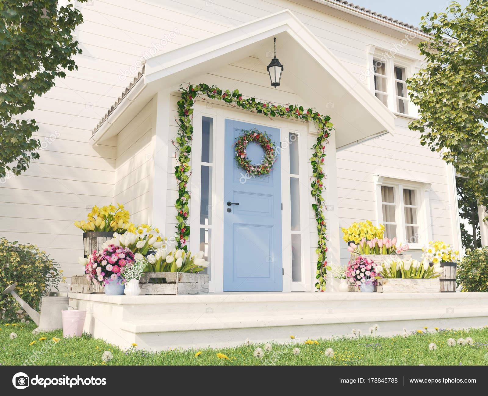 primavera decoración porche con una gran cantidad de flores. Render ...