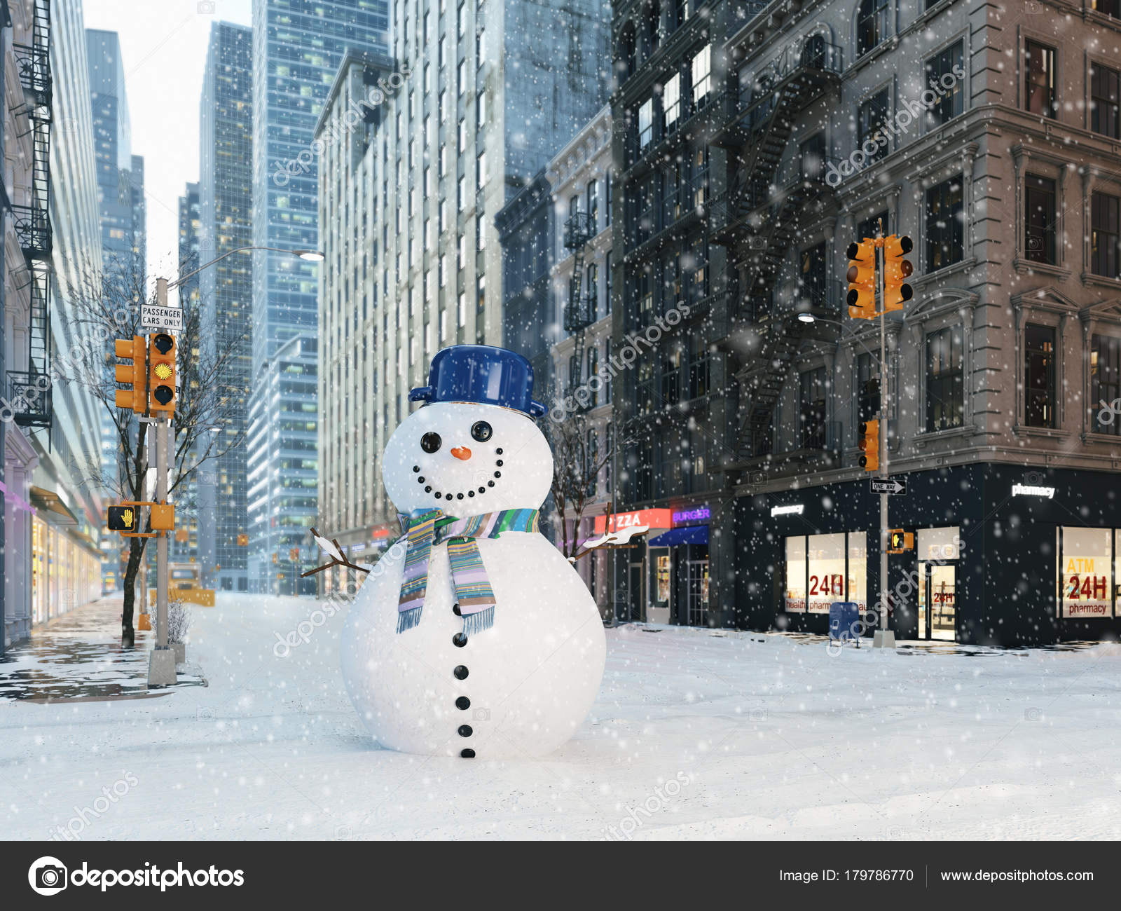 Blizzard in new york city  build snowman  3d rendering
