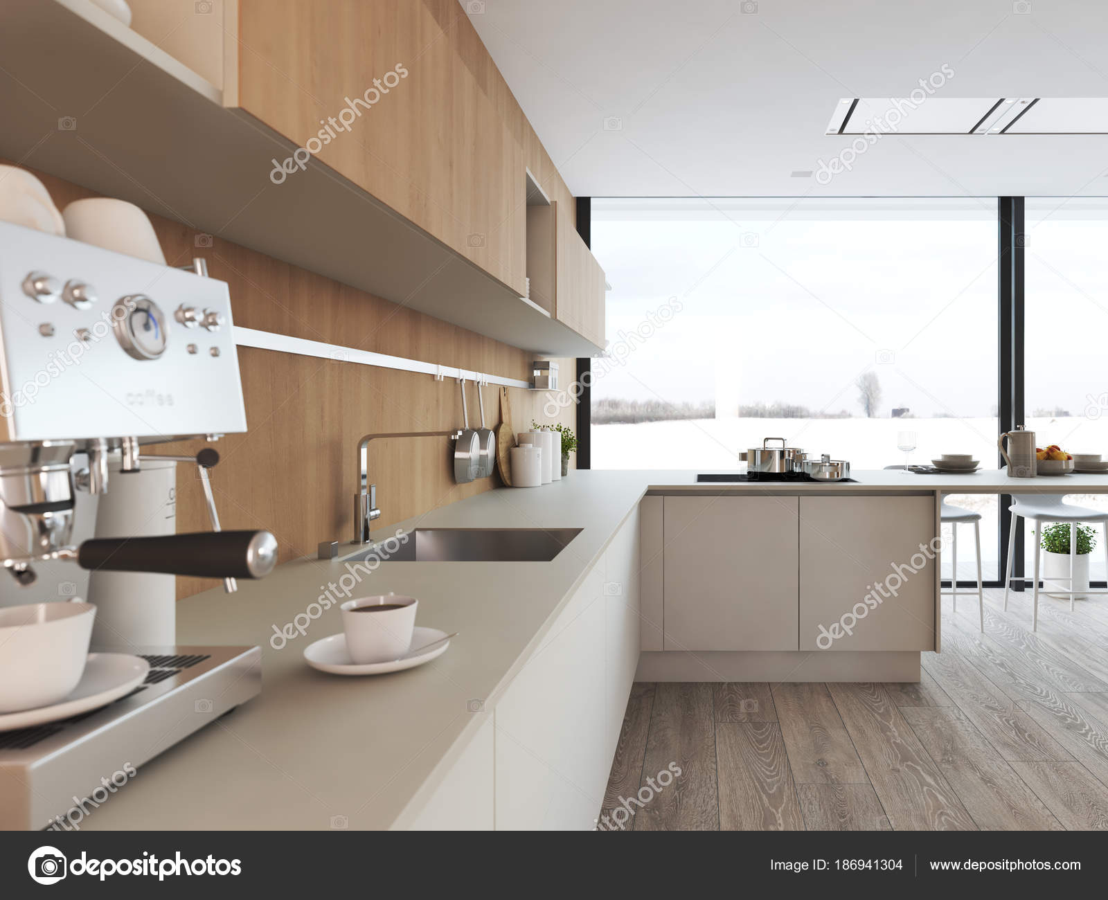 Cozinha Moderna N Rdica Em Apartamento Loft Renderiza O 3d Stock