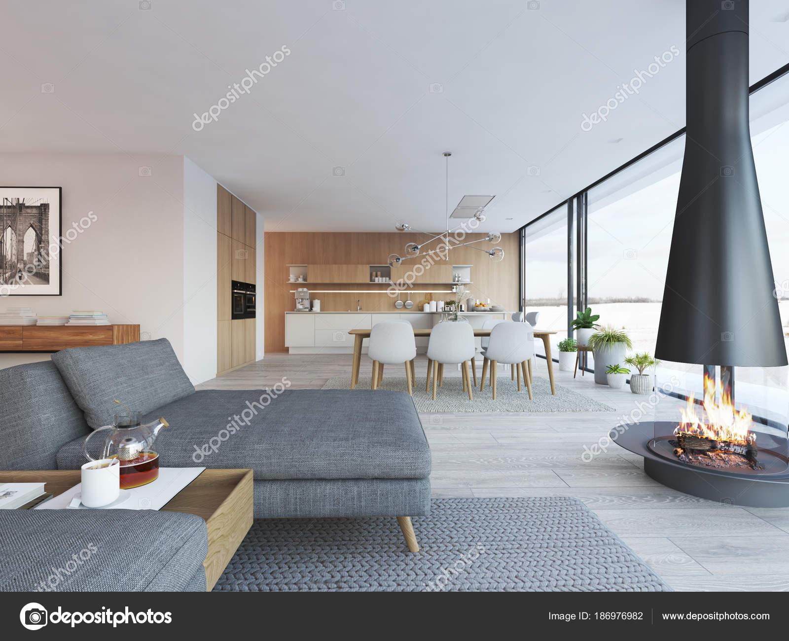 Moderne loft wohnung 3d rendering stockfoto 2mmedia for Minimalismus lebensstil