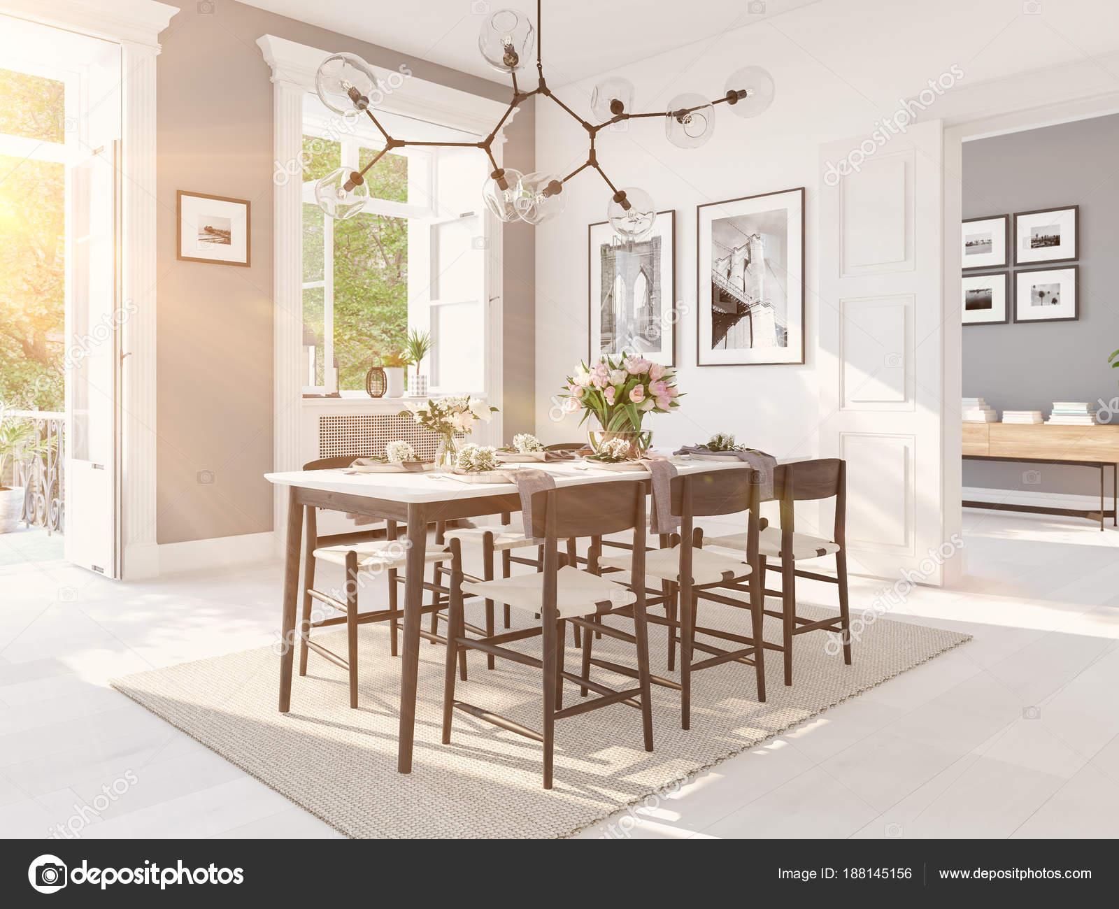 Moderne scandinavische eetkamer in loft appartement d rendering
