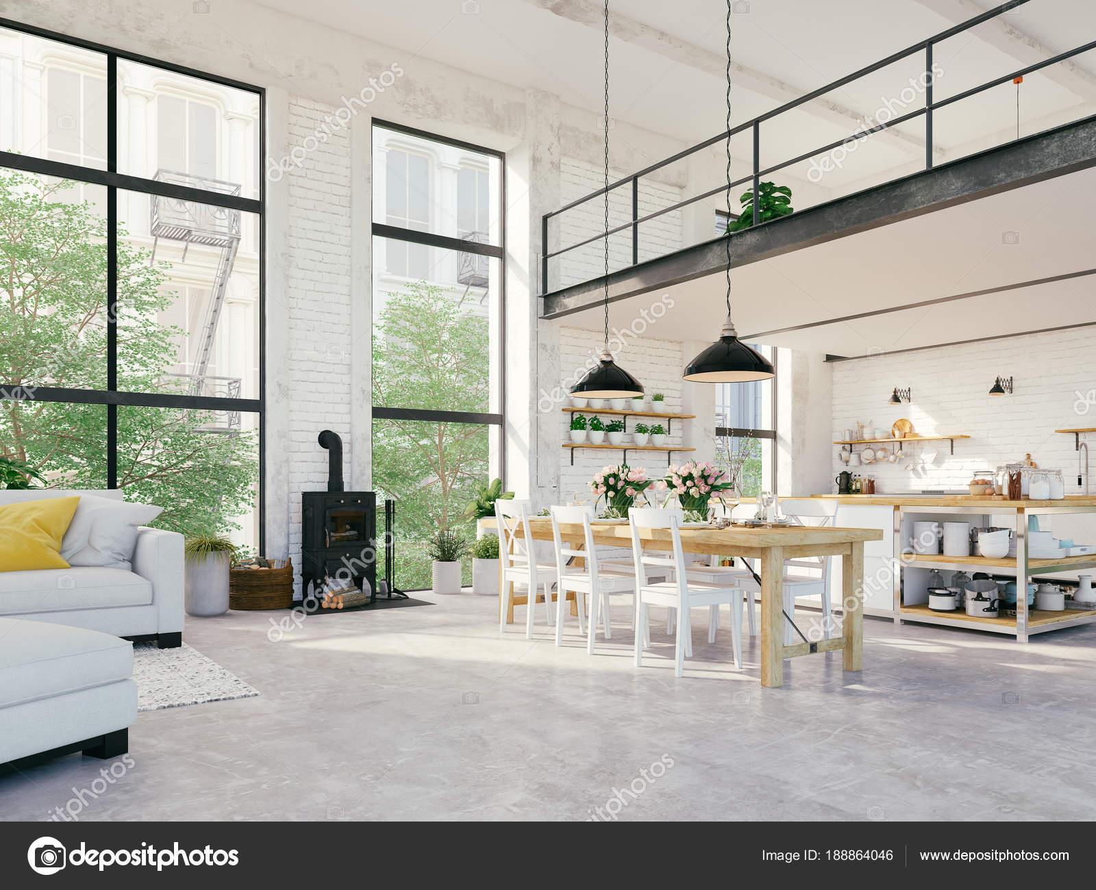 modern loft apartment. 3d rendering — Stock Photo © 2mmedia #188864046