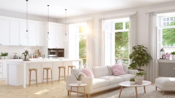 moderní obývací pokoj v městském domě. 3D vykreslování