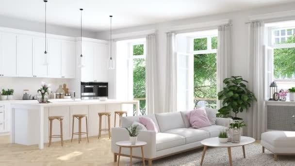 soggiorno moderno in residenza. rendering 3D
