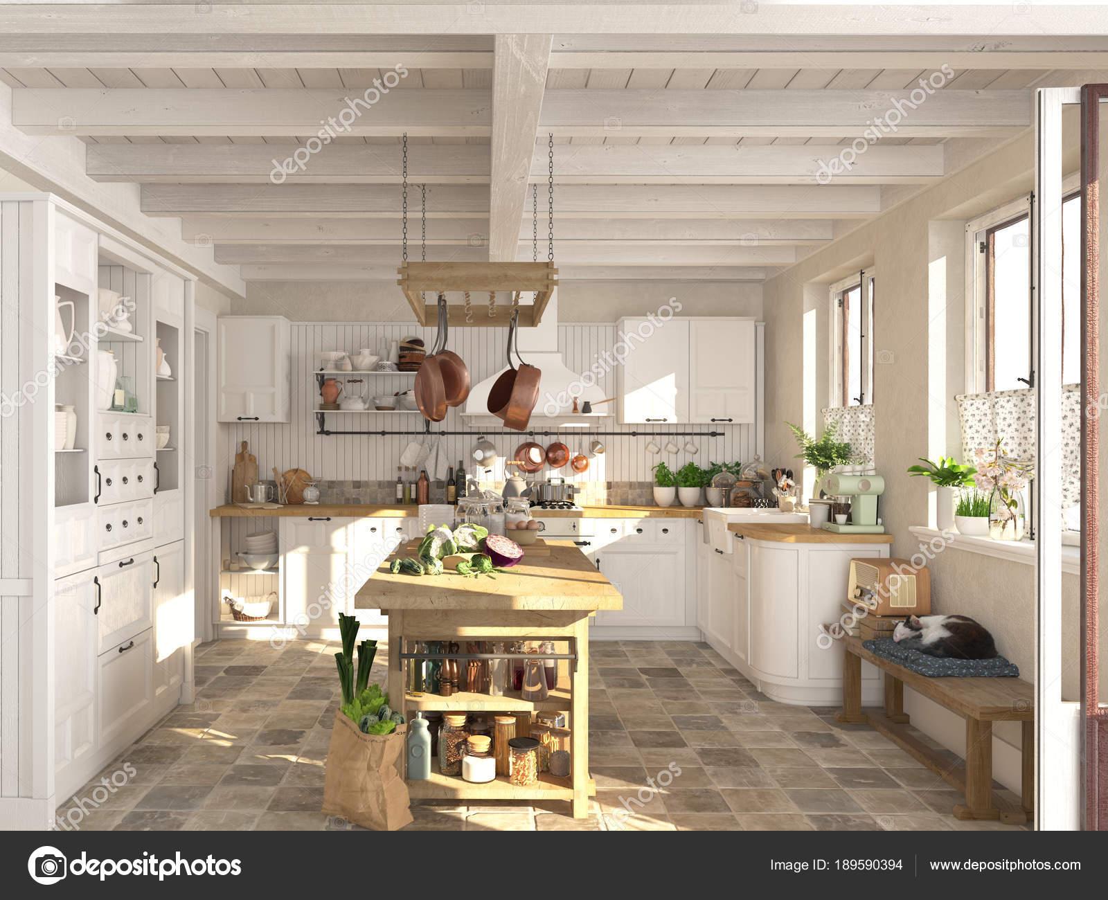 Retro-Küche in einer Hütte mit schlafenden Katze. 3D rendering ...
