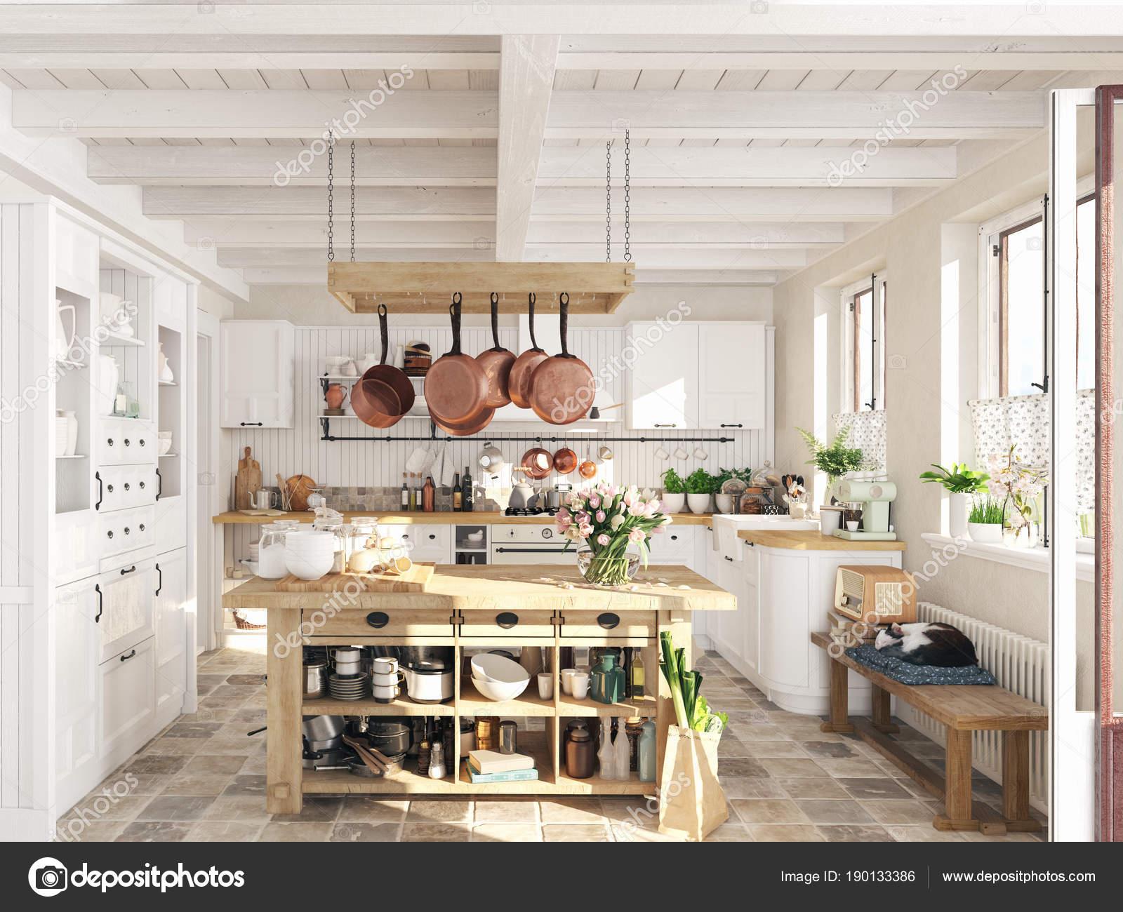 Faszinierend Retro Küche Sammlung Von Retro-küche In Einer Hütte Mit Schlafenden Katze