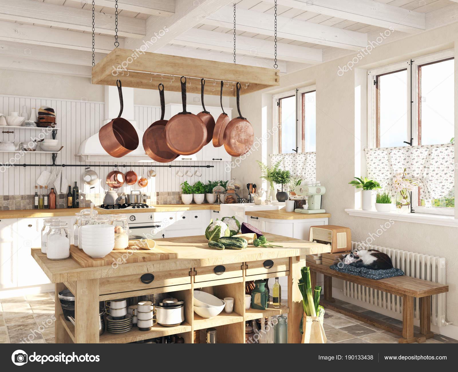 Retro Design Keuken : Retro keuken in een huisje met de slapende kat d rendering