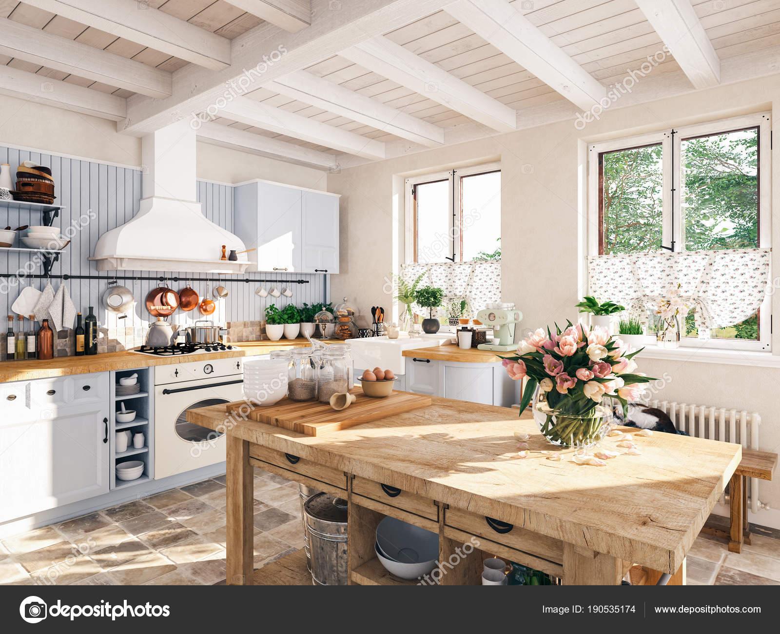 Unglaublich Retro Küche Das Beste Von Retro-küche In Einer Hütte Mit Schlafenden Katze