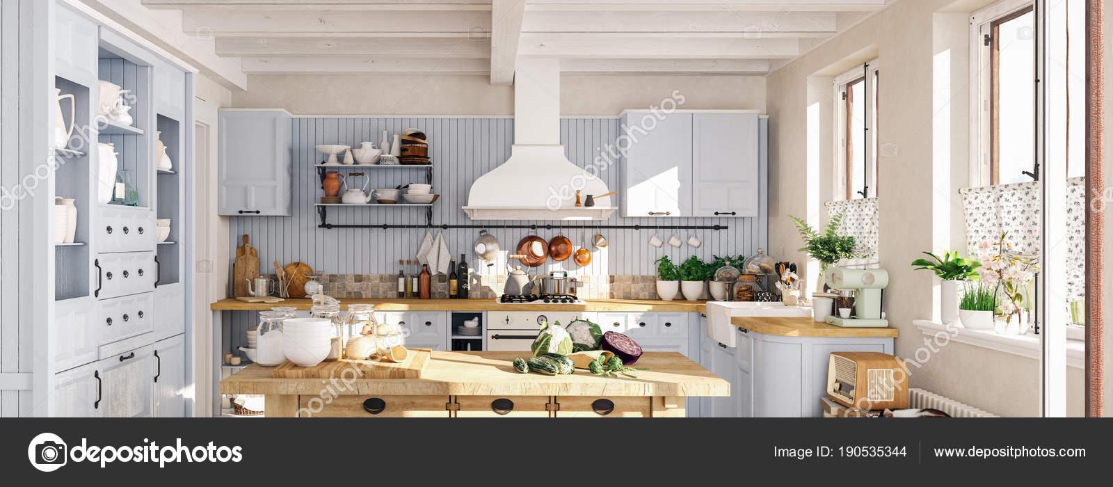 Faszinierend Retro Küche Ideen Von Retro-küche In Einer Hütte Mit Schlafenden Katze
