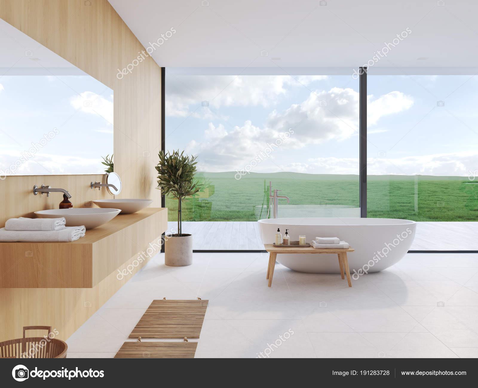Mooie Moderne Badkamers : Nieuwe moderne badkamer met een mooi uitzicht. 3d rendering