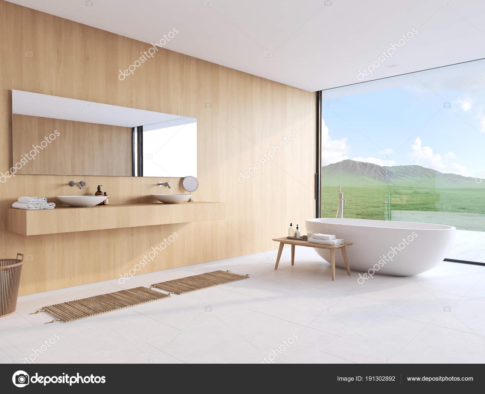 Nieuwe moderne badkamer met een mooi uitzicht d rendering