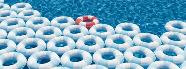 unique red float ring between blue float rings in pool. 3d rendering
