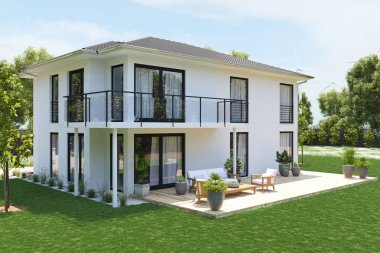 modern new house with large property. 3D rendering