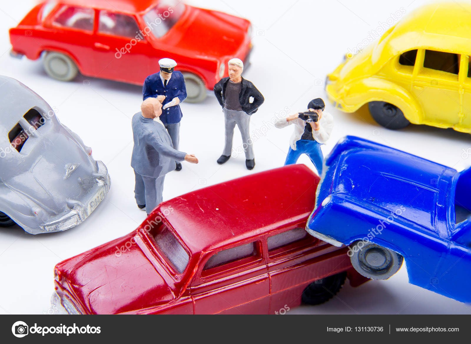 Miniature tiny toys car crash accident damaged.Accident on the r ...