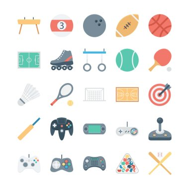 Sports and Games Colored Vector Icons 1