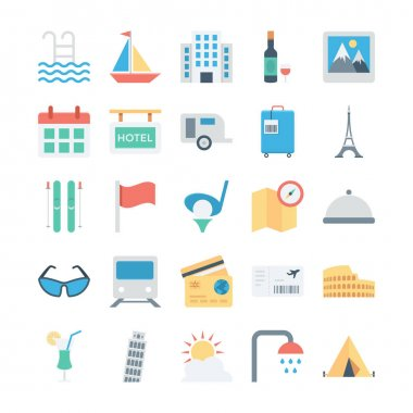 Travel and Tourism Colored Vector Icons 4