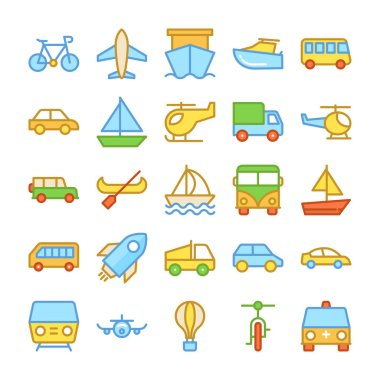 Transport Colored Vector Icons 2