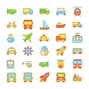Transport Colored Vector Icons 4