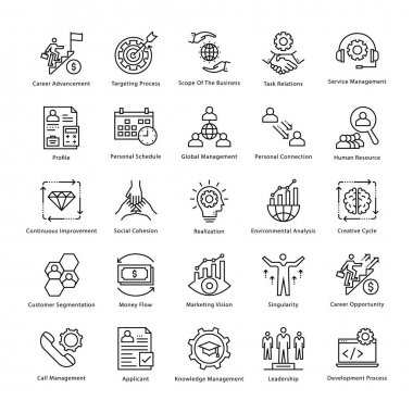 Business Management and Growth Vector Line Icons 10