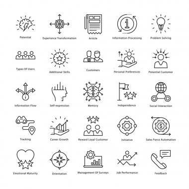Business Management and Growth Vector Line Icons 34