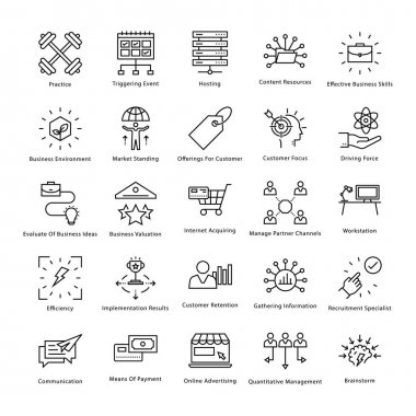 Business Management and Growth Vector Line Icons 49