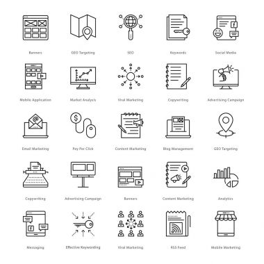 Web and SEO Line Vector Icons 4