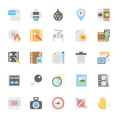 Multimedia Flat Colored Icons 9