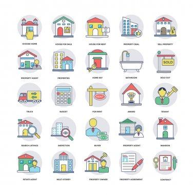 Real Estate Flat Line Icons Set 1