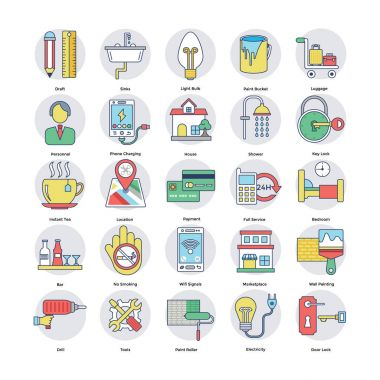 Home Services Flat Circular Icons Set 2