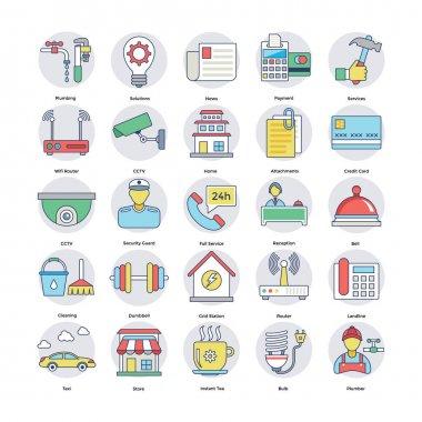 Home Services Flat Circular Icons Set 3