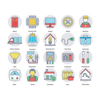 Home Services Flat Circular Icons Set 8