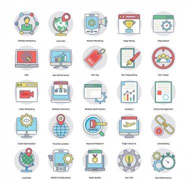 Digital and Internet Marketing Flat Circular Icons Set 4