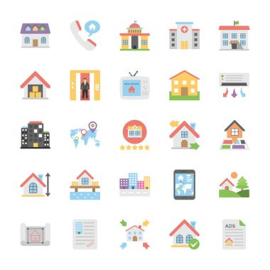 Real Estate Flat Colored Icons Set 7