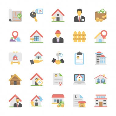 Real Estate Flat Colored Icons Set 1