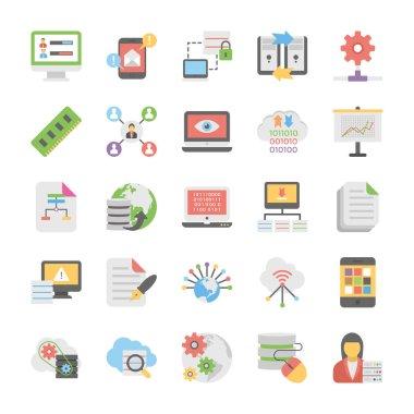 Cloud Computing Flat Vector Icons Set 8
