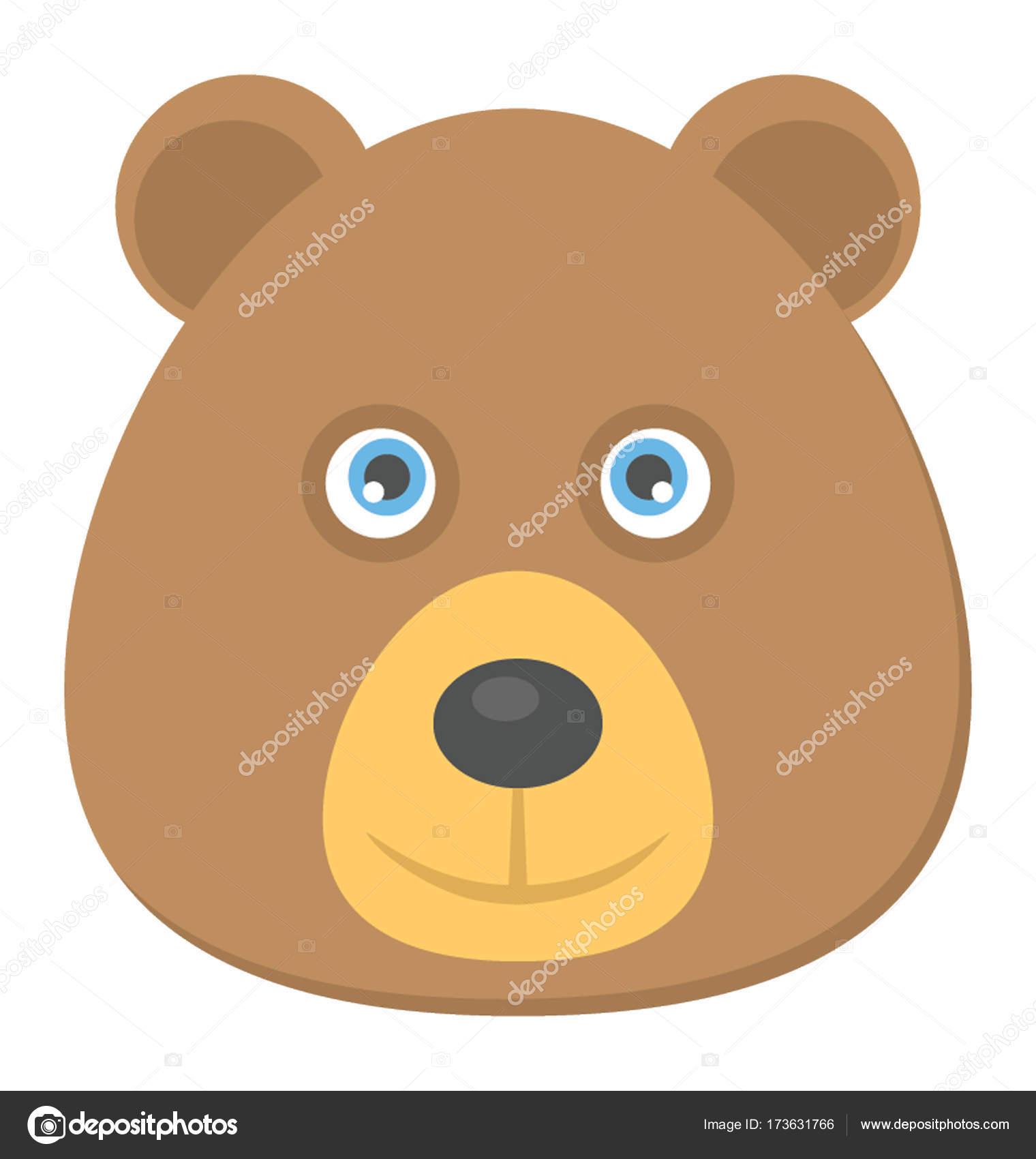teddy bear face flat icon stock vector creativestall 173631766
