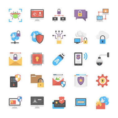Online System Protection Flat Icons Design