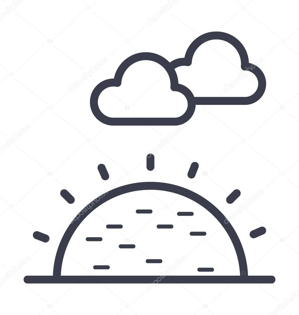 Sunny Clouds Vector Icon                                                                                                                                                        Nature,park,plant,tree line vector icon.