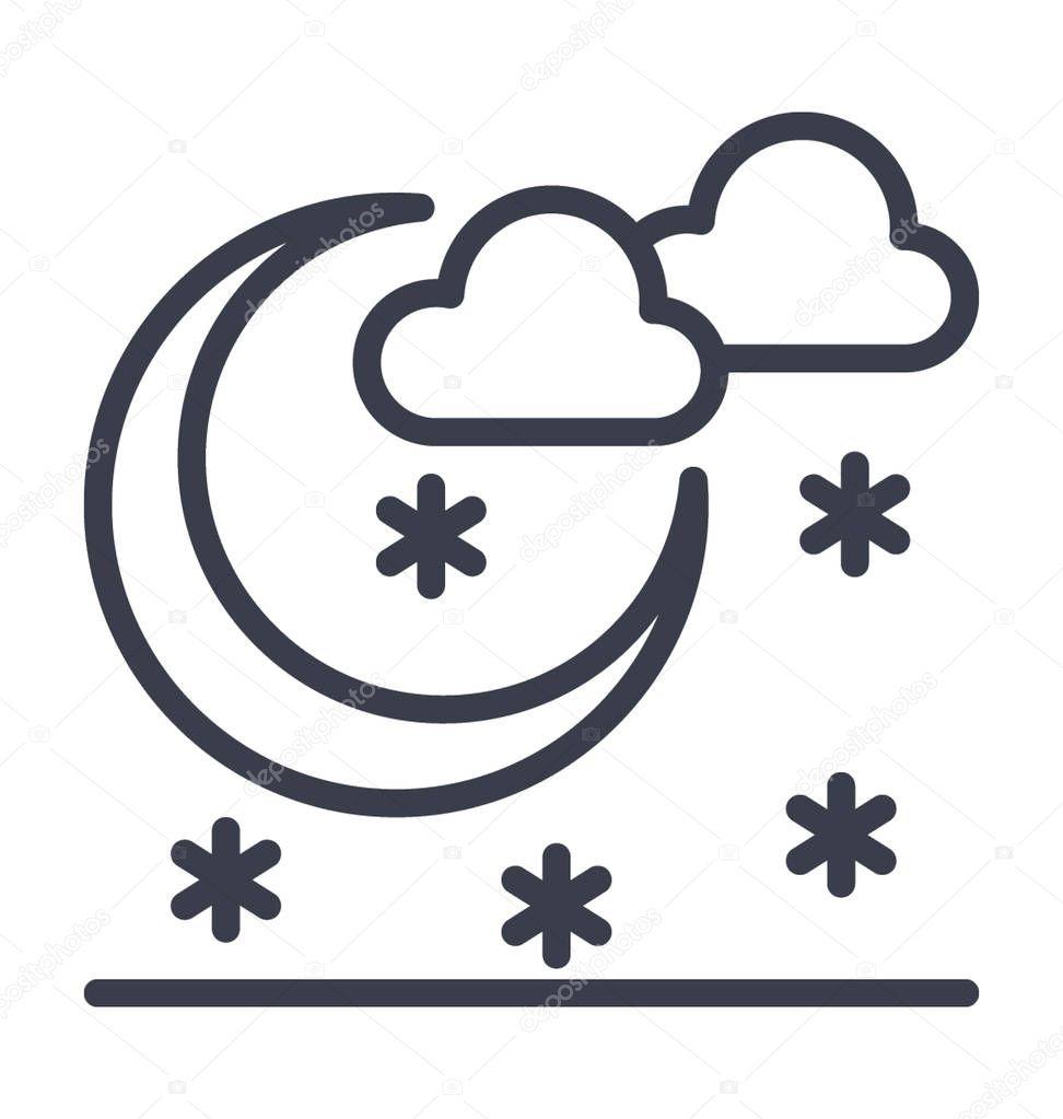 Cold Night Vector Icon                                                                                                                                                        Nature,park,plant,tree line vector icon.